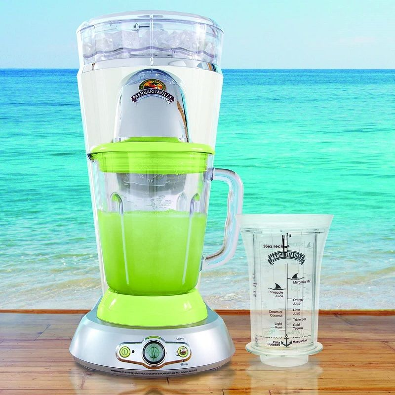 Margaritaville DM1000 Frozen Concoction Maker, a blender type processor that will help you create your frozen drinks in a consistent fashion. Weighing at 16 pounds, this blender is capable of mixing properly proportioned drinks in a few simple steps. With a brand name as catchy as Margaritaville, it gives you an idea of what their products are all about. For sure, you are visualizing a machine that can whip you up perfectly made drinks with style.