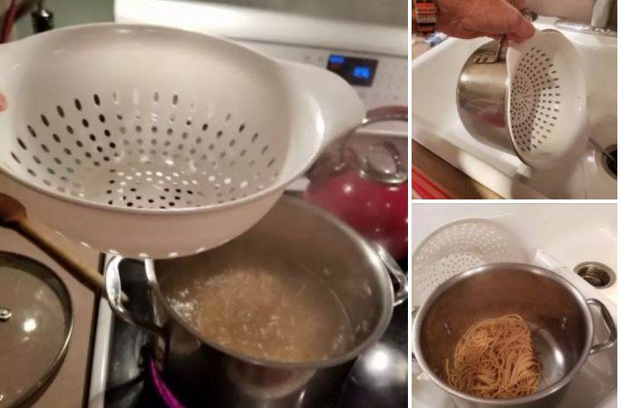 How to use pasta pot with strainer