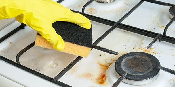 how to clean burnt stove top